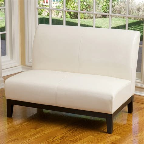 Overstock Loveseat by Darcy Ivory Leather Loveseat 15883086 Overstock