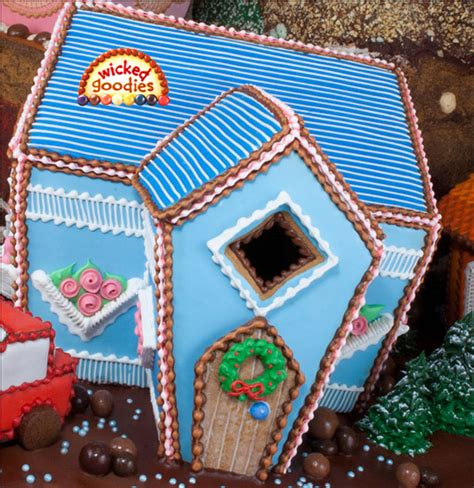 fancy gingerbread house templates blue piped gingerbread house by goodies cakecentral
