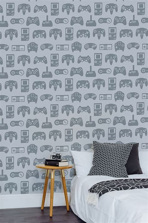 light grey retro game wall mural boys bedroom colors