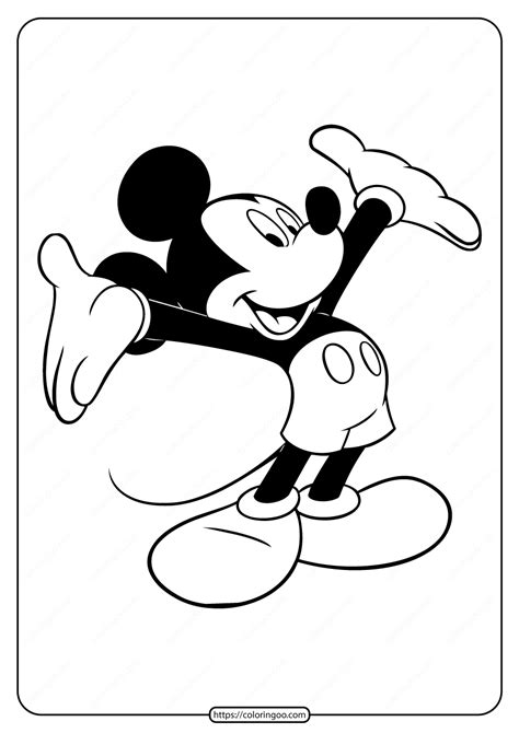 printable mickey mouse embrace coloring page