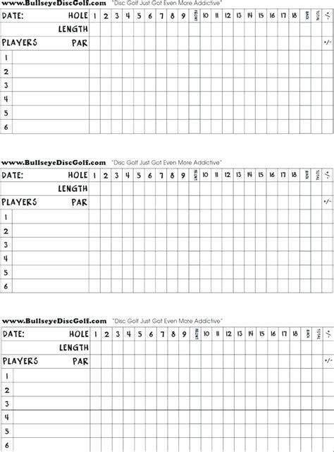 Golf Scorecard Template Disc Score Printable Blank Pub