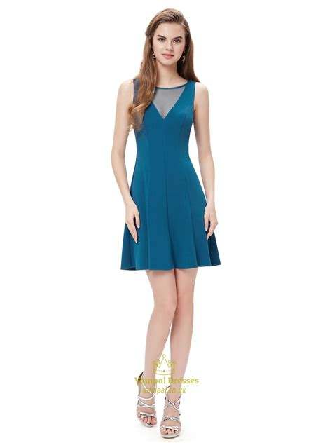 Elegant Teal Blue Short Cocktail Party Dress With Illusion