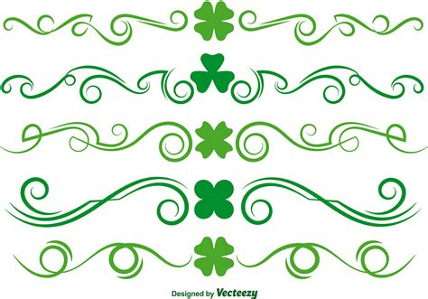 Green Clover Scrollwork Vector Set