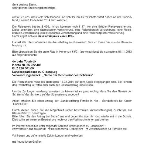 elternbrief klassenfahrt london wwwhauptschule esensde
