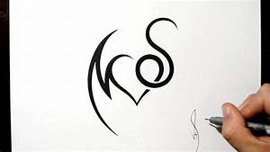 Combining Initials M and S with a Heart Tattoo Design ...