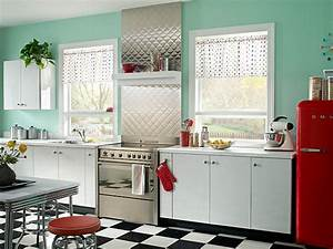 the shiny kitchen metal decor for your culinary space With kitchen colors with white cabinets with vintage tin tiles wall art