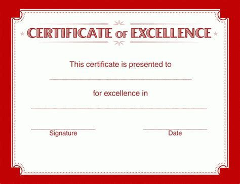 Certificate Of Excellence Template  Free Word Templates