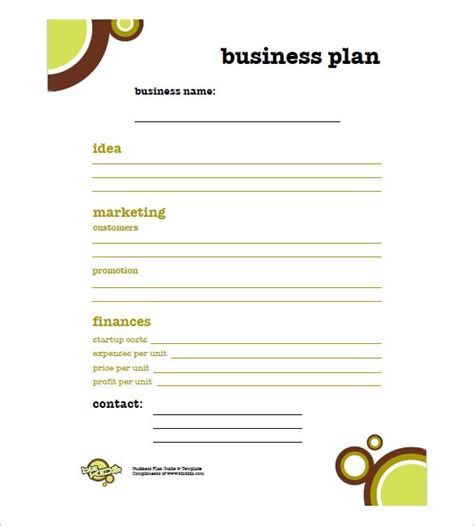 Basic Business Plan Template by Small Business Plan Template Madinbelgrade