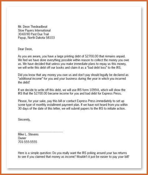 sle collection letter collection letter template sle