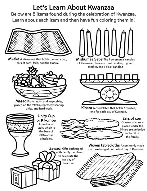 learn about the kwanzaa worksheets printables