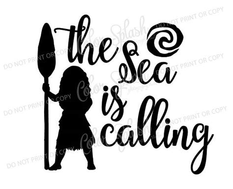 moana disney princess sea is calling svg dxf png eps cutting file silhouette cameo cuttable
