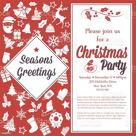 Retro Red And White Christmas Party Invitation Template