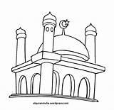 Masjid Gambar Mewarnai Drawing Kartun Clip Clipart Getdrawings sketch template