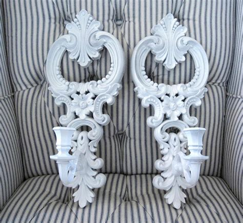 White Candle Sconces - pr vintage ornate white wall sconces candle holders shabby