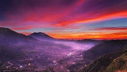 Sky Clouds Mountain Landscape Indonesia Pink Sunset