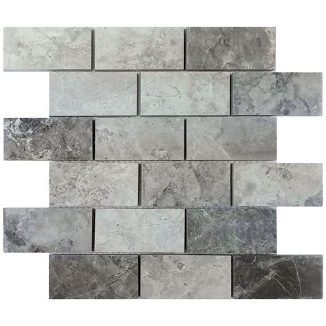 shop avenzo 12 in x 12 in valensa gray polished mosaic