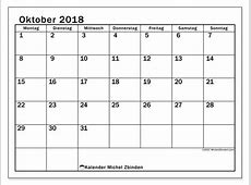 Kalender Oktober 2018 MS