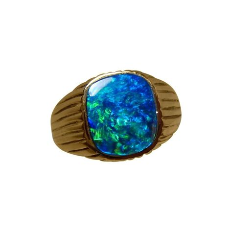 mens opal ring  gold blue square opal rings men