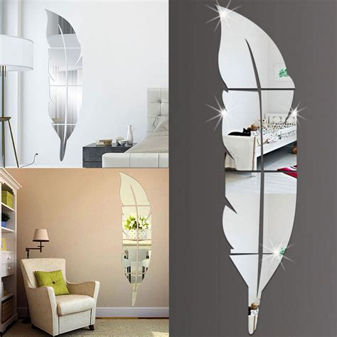 miroir mural chambre diy modern feather acrylic mirror wall sticker home decor