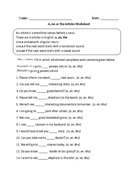 a an the worksheets for englishlinx articles worksheets
