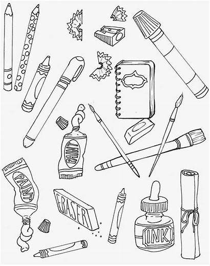 Coloring Pages Supplies Drawing Printable Sheets