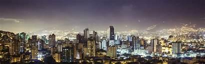 Colombia Medellin Night Republic Monitor Buildings Multi