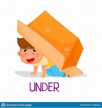 Under Preposition Place Boy Carton Sitting Cheerful