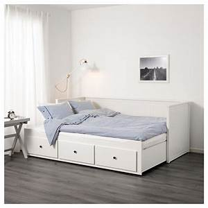 HEMNES Day bed w 3 drawers/2 mattresses White/moshult firm