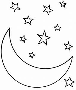 Moon, And, Stars, Coloring, Pages, Printable