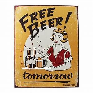 Plaque Publicitaire Métal : plaque m tal publicitaire 30x40 cm plate free beer tomorrow ~ Teatrodelosmanantiales.com Idées de Décoration