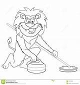 Curling Krulla Beeldverhaal Krullen Lev Lintbanners Messo Insegne Arriccia Nastro überlagert Livro Leeuw Lokalisiertes Färgläggningbok Avbilda Lejon Filmstil Isolerat Isolata sketch template