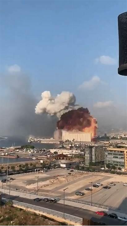 Explosion Beirut Lebanon Buildings Through Huge Cloud