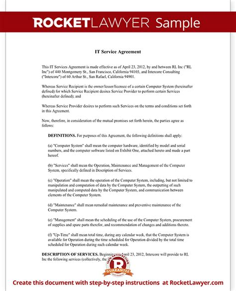 service contract agreement template  sample