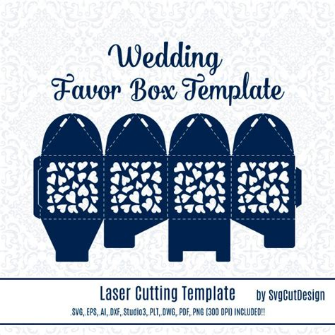 wedding favor box template laser cutting heart commercial