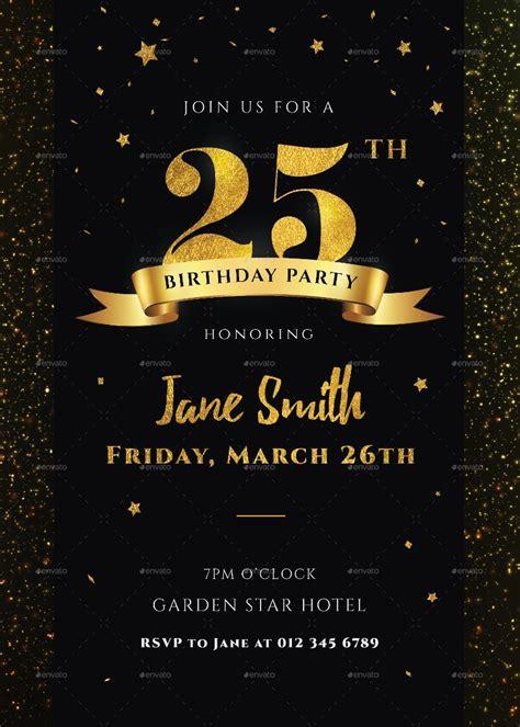 black  gold birthday invitation designs