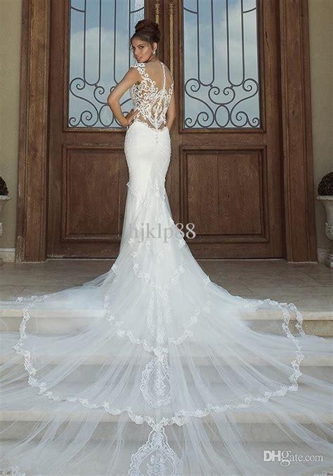 backless wedding dress lace 2014 mermaid embroidery applique galia lahav