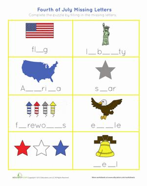 4th of july spelling worksheet education