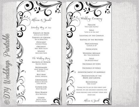 black white wedding program template instant