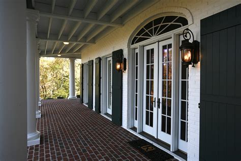 Brick Red Curtains by Shutters For French Doors Exterior Traditional With Brick