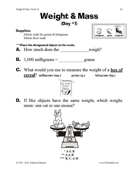 weight and mass worksheets 3rd 4th 5th grade