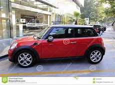 Red Mini Cooper In The Morning Editorial Stock Photo