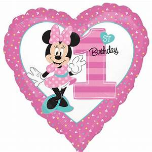 "18"" Disney Pink Baby Minnie Mouse 1st Birthday Party Heart ..."