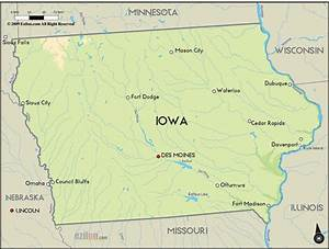 Geographical Map Of Iowa And Iowa Geographical Maps