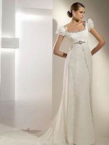regency a line wedding dress with slit lace on chiffon With regency style wedding dress