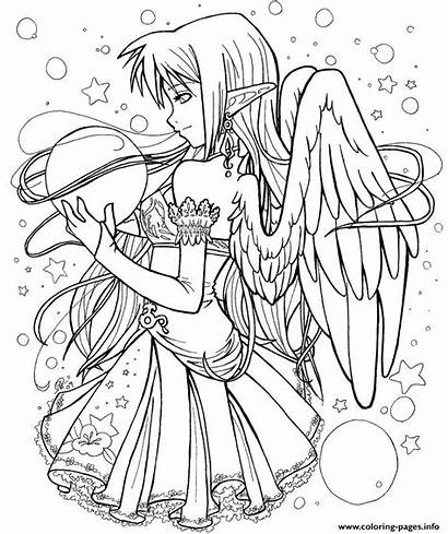 Coloring Pages Dark Angel Adult Anime Printable