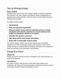 english tips for writing a eulogy With eulogy template for a friend