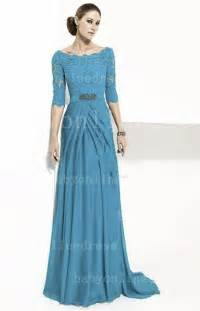 designer gown cheap blue lace prom dresses 2014 designer chiffon half sleeve evening gowns on