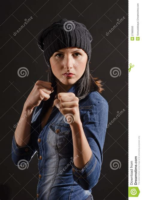 portrait  young woman ready  fight stock photo image