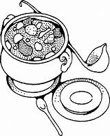Soup Coloring Pages Bowl Cereal Printable Drawing Food Vegetable Soups Stone Template Chili Clipart Sc St Ten Getcolorings Print Ariel sketch template
