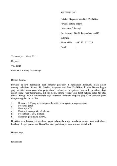 Contoh Surat Lamaran Program Magang Bina Bni Contoh Seputar Surat